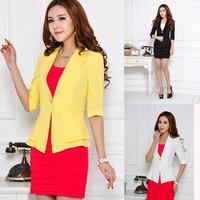 Suit Tunic Foldable sleeve lined striped Blazer Jacket shawl cardigan Coat one button chinese new fashion women 2014 clothes