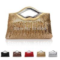 New Style Bride Lip shape Sequins pleated Handbag Women Hot Fashion Folds Clutch Bag Evening Bag Shoulder Bag 9014