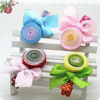 Korean newness design colorful lollipop shape cute chiffon hair clip for kids 30 pcs/lot