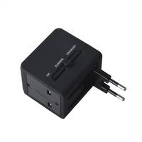 Universal Travel Power Plug Adapter w/ Dual USB - Black (US / EU / UK)