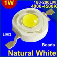 50pcs/lot 1W LED Beads 180-200LM natural white (4000-4500K) EpRistar chipsLEDbead for light High power leds Source Free shipping