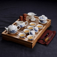 New coming  Tea set yixing tea ceramic kung fu tea set solid wood tea tray  set 6 suits can be chose