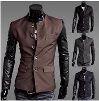 FREE SHIPPING,New arrival HOT Selling Mens Suit,Hot Men's slim blazer Men's Splicing sleeve tuxedo Jackets2460