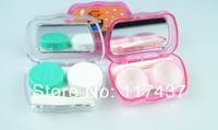 2014 new contact lens cases container 20pcs, with mirror, tweezers, sticker