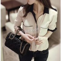 2014 New Women's Chiffon Blouses Long Sleeve Shirt Lapel Solid Beige Color Summer Autumn Button Pocket Loose Tops SV000885