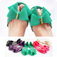 Women's Sandals 2014 Summer Beach sandal thin delicacy bowknot crystal candy color flat base Peep toe Jelly Shoes slipper