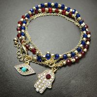 3pcs/lot Fashion accessories turkey eye hamsa fatima hand beaded crystal bracelet