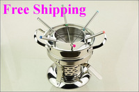 Free Shipping Stainless Steel Cheese Fondue With Forks,Chocolate Pot Set