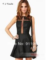 2014 New Noble Top quality Dresses Halter Backless Chiffon+PU Evening Dress Behind hollow,S, M, L, XL,XXL
