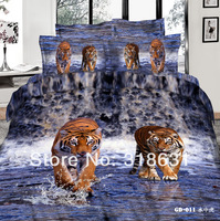 Hot 3D Cotton Oil Painting Manly Tiger Printed Blue Bedding Set Fabric 7/8PCS for Full Queen King Cal King Bed Comforters