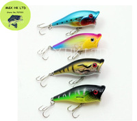 New 4pcs/lots  Surface Fishing Lure Topwater Popper Crank Bait Plastic Hard Plastic Bait Free Shipping