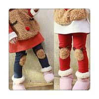 Free Shipping Winter Child Warm Plus velvet Thicken trousers Child silk legging legging Children pants Girls ethnic leggings