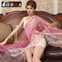 2014 Spring Mulberry silk silk scarf silk scarf long design cape scarf dual autumn and winter