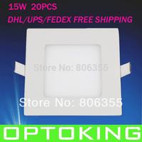 Ultra thin 15W  led square ceiling light /down light /panel light , CE&ROHS DHL/FEDEX/UPS free shipping