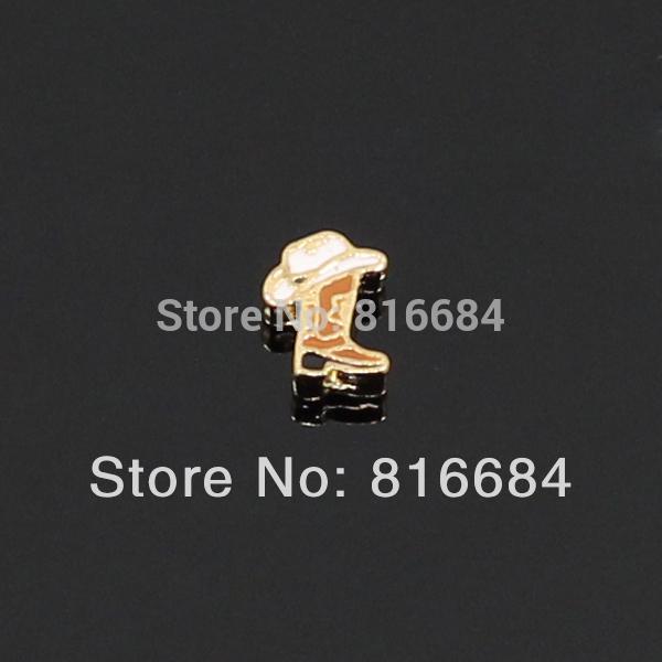 Frete grátis !! ( 20pcs / lote) 2014 New Designs Shoes Ouro Cowboy flutuantes Charms Medalhão Para Medalhões Mix(China (Mainland))