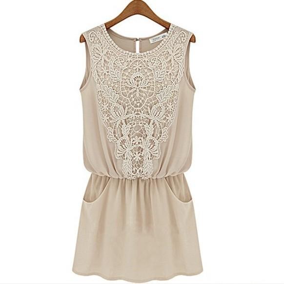 Free shipping 2014 New Fashion Elegant Casual Dress Designer Lady Crochet Dresses Summer Quality Lace Embroidery Dress SYY0566(China (Mainland))