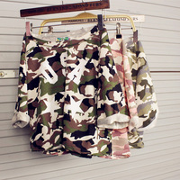 2014 HARAJUKU usa Camouflage letter vintage short design short-sleeve t-shirt tops all-match loose t-shirt female