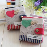 Short design fabric wallet rustic small fresh handmade hemp women's wallet card holder multi card holder