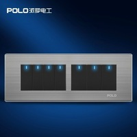 Free Shipping,POLO luxury wall switch panel,197MM*72MM, Fluorescence , Light switch, Flat switch,110~250V, 7 Gang 2 Way