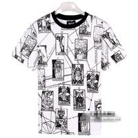 KTZ Retro men print  men's short sleeve shirt fashion Round neck t-shirt cotton casual tshirt hiphop tshirt unisex FS138