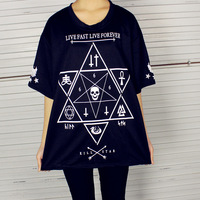 2014 HARAJUKU hexagonal star punk skull cross short-sleeve T-shirt