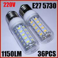 5PCS/LOT E27 12W 5730 36pcs LED chips AC 220-240V Led Corn bulb Warm/Cool White 360 Degree Spot light led bulb