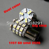 free shipping, 20 Pcs Dual Color Switchback 1157/BAY15D Original 1210 SMD 60 LEDs car LED light bulb,Cold White + Amber Color