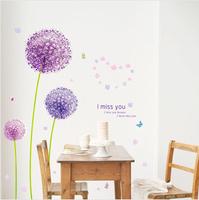 Exta Large 3D 140*140cm Romantic Purple Dandelions Flowers Removable Mural Home Decor Vinyl Wallpaper Wall Stickers