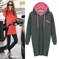 Fashion women's trend 2014 spring with a hood long-sleeve medium-long sweatshirt dress