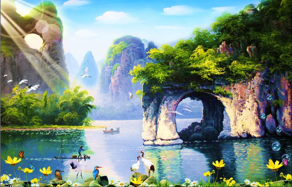 Silk big picture diamond painting cross stitch landscape(China (Mainland))