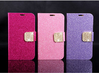 Golden Flip wallet cover for Samsung Galaxy Note 2 N7100 Crystal diamond case handbag,free shipping