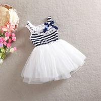 2014 popular summer girl sleeveless dress girls stripe princess dresses 100%cotton children bow dresses