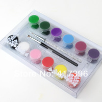 12 Colors High quality 3D nail art paints Pigment Draw Painting Acrylic paint brush set 7ml NA373