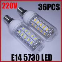10X High Power E14 12W SMD 5730 36pcs LED chips AC 220-240V Led Corn bulb light Warm/Cool White 360 Degree Spot light led bulb