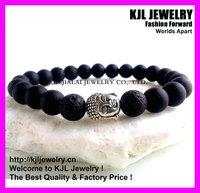 10pcs fashion Mens Black Matt Onyx and Lava Stone bracelet, Meditation Yoga Stretchy beaded elastic bracelet buddha