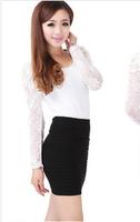 2014 new women's fashion was thin package hip skirt A word skirt folds high elastic skirt skirts(2pcs/1lot)