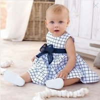 Dresses New Fashion 2014 Spring Brand Baby Clothing Girl Plaid Sleeveless Cotton Bow Dress Infant Girl's Summer Party Dress