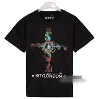 BOY LONDON cross 2014 summer brand men's short sleeve shirt fashion Round neck t-shirt cotton casual tshirt hiphop unisex FS139