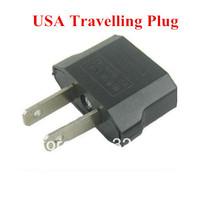 5pcs/lot Black Mini Travel Charger Plug Adapter Converter Euro EU to US USA 2 Pins Plug Wall Charger Free Shipping