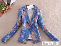 Autumn Winter Outerwear Elegant Vintage Fashion Ladies Floral Print Coat Suit Jacket And Blazer Women Branco Feminino 2014