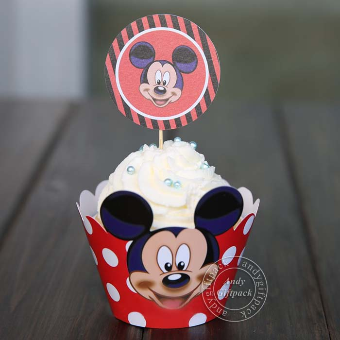 Free Shipping Mickey mouse cake cup picks toppers monogram decoration for party favors kids birthday, paper cupcake wrappers(China (Mainland))