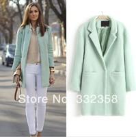 New Designer Fall/Winter Fashion Coat Women Jacket Classic Mint Green Lapel Double Pocket Longline Oversize Wool Coat Windbreake