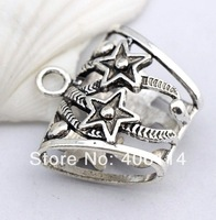 10pcs  Tibetan Silver Open Star Tube Bail Connector Beads Fit Charm Scarves 39X37mm