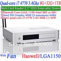 Wholesale Mini PC Quad Core i7 4770 3.4Ghz with haswell LGA 1150 Intel HD Graphic 4600 64 bit processor 8G RAM 32G SSD 1TB HDD