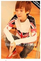 2014 hot sale fashion Separate doodle torx uk flag Men spring and autumn long-sleeve T-shirt n5544
