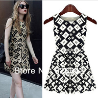 spring of 2014 the European and American new grid posed womens vest dress sleeveless cultivate one's morality chiffon womens