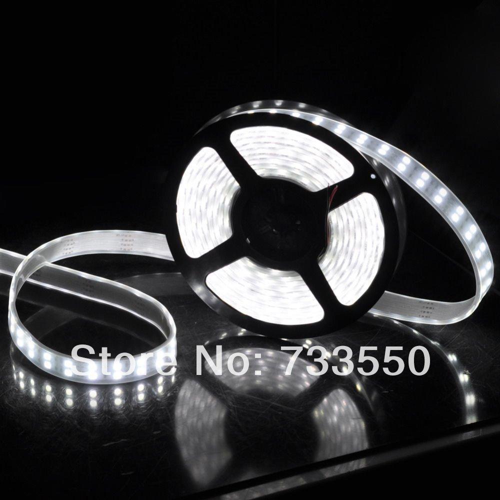 Free shipping 12V 5M 5050 Double Row SMD 120leds/M Tube 600LEDs Waterproof LED Strip Light White / Warm White(China (Mainland))