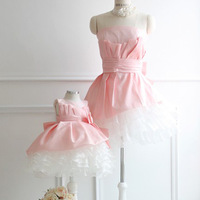 High quality fashion family mother and daughter dress costume beading lace puff dress free shipping