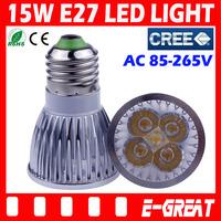 10PCS/Lot Ultra Bright Cree Dimmable E27 Socket 15W LED Bulb Lamp Light Spotlights AC85-265V CE/RoHS Warm/Cool White