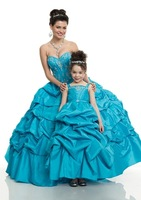 High quality fashion family mother and daughter dress costume beading blue flower dress free shipping